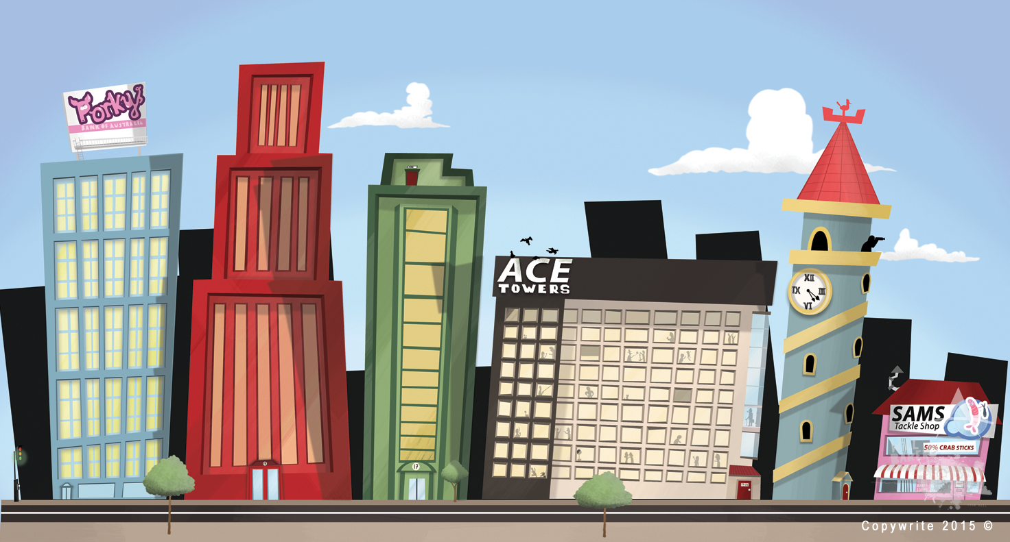 Cartoon buildings background